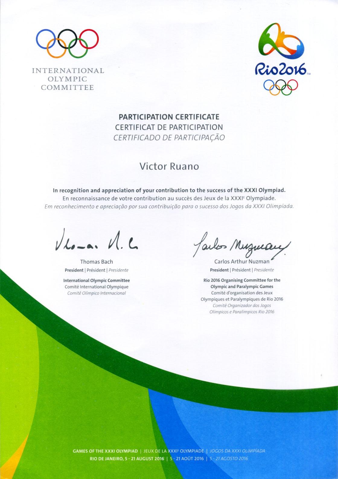 diploma-rio-olympics-victor-ruano-santasombra Rio Olympics